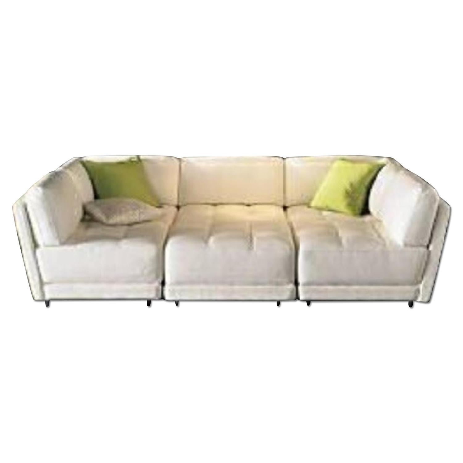 Vice Versa White Leather Modular Couch - image-0