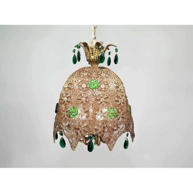 Vintage Chandelier Bohemian Filigree Green Crystal Mid-Century Pendant - image-1