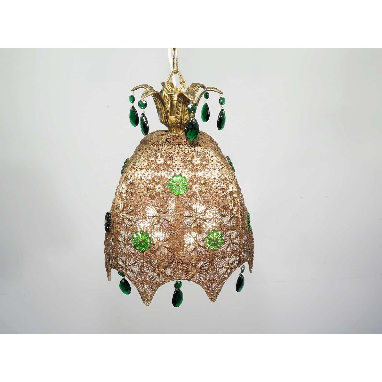 Vintage Chandelier Bohemian Filigree Green Crystal Mid-Century Pendant - image-3