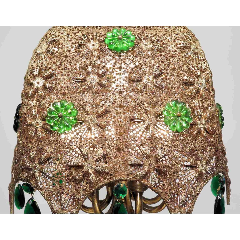 Vintage Chandelier Bohemian Filigree Green Crystal Mid-Century Pendant - image-4