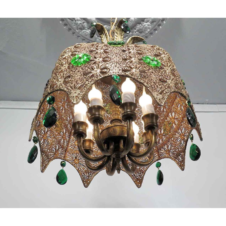 Vintage Chandelier Bohemian Filigree Green Crystal Mid-Century Pendant - image-5