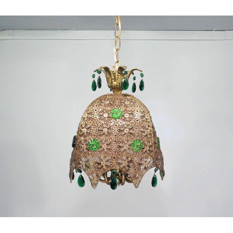 Vintage Chandelier Bohemian Filigree Green Crystal Mid-Century Pendant - image-6
