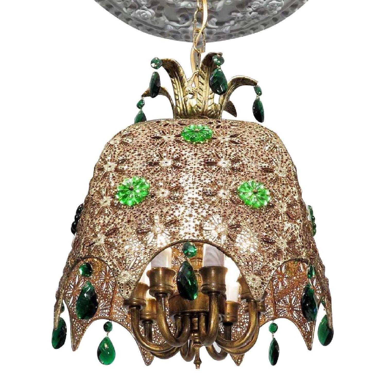 Vintage Chandelier Bohemian Filigree Green Crystal Mid-Century Pendant - image-0