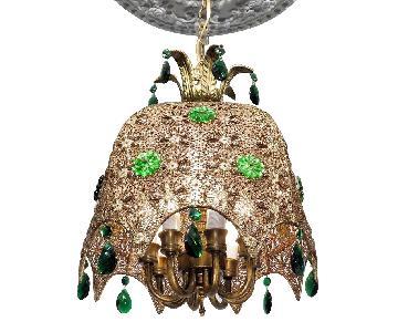 Vintage Chandelier Bohemian Filigree Green Crystal Mid-Centu