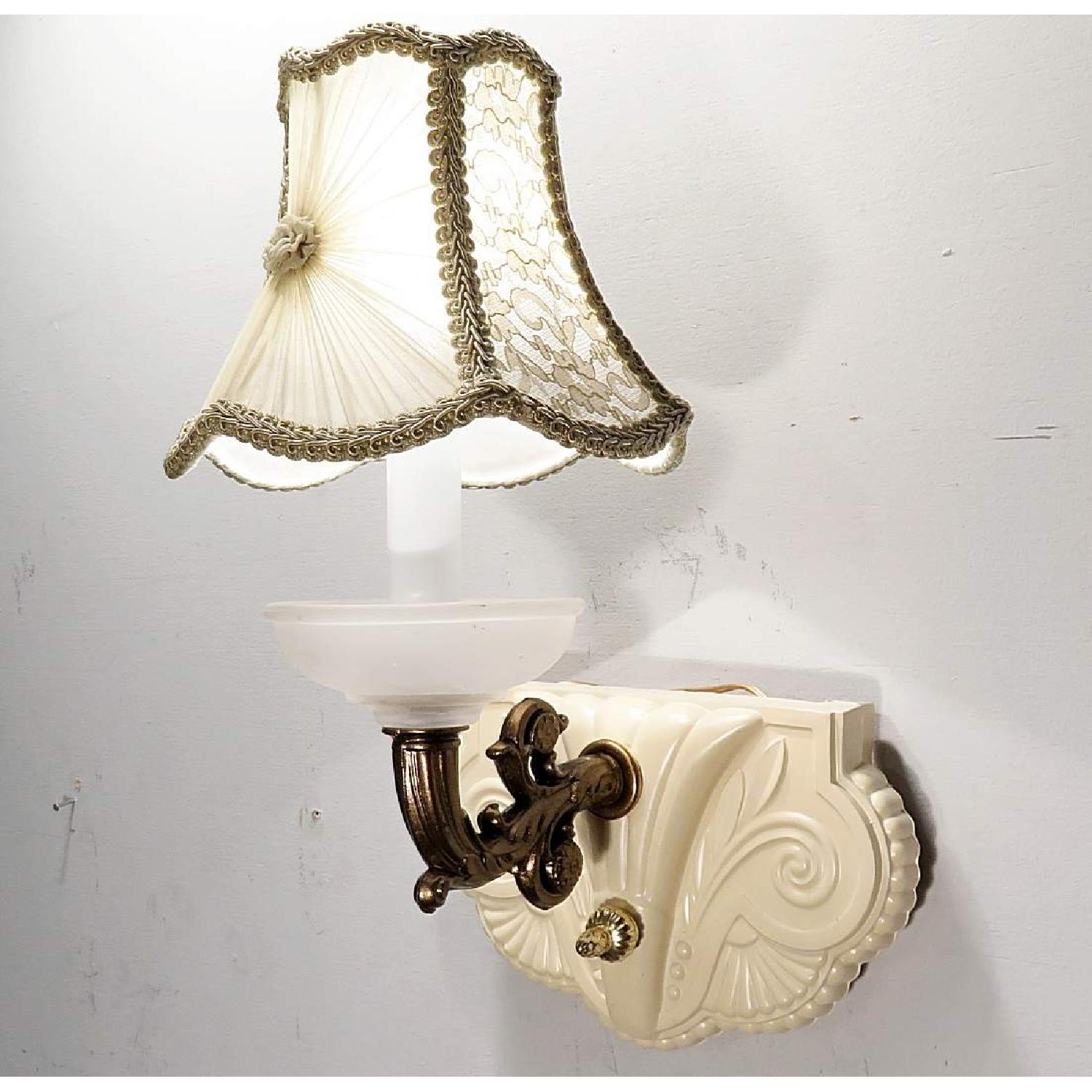 Vintage Glass Art Deco Sconces w/ Hand-Made Shades - Pair - image-4