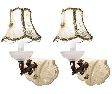 Vintage Glass Art Deco Sconces w/ Hand-Made Shades - Pair
