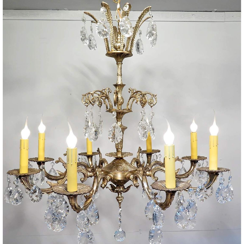 Vintage Grand Bronze Chandelier/Light Fixture w/ Crystals - image-1