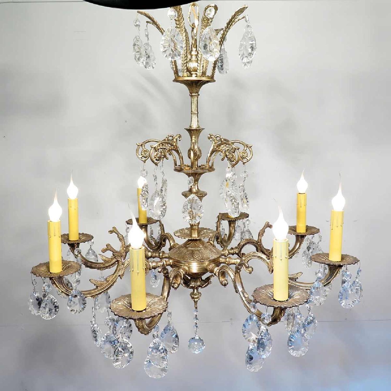 Vintage Grand Bronze Chandelier/Light Fixture w/ Crystals - image-2
