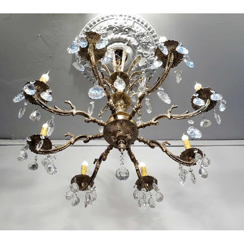 Vintage Grand Bronze Chandelier/Light Fixture w/ Crystals - image-3