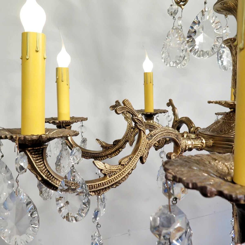 Vintage Grand Bronze Chandelier/Light Fixture w/ Crystals - image-4