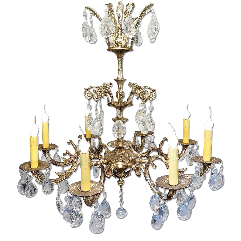 Vintage Grand Bronze Chandelier/Light Fixture w/ Crystals - image-0
