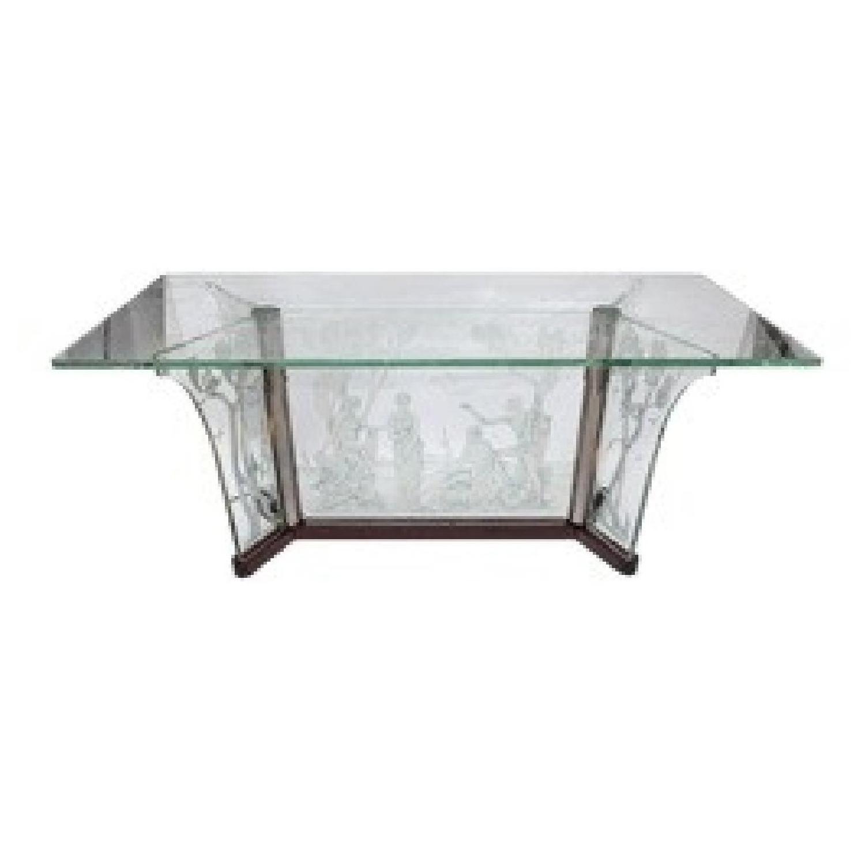 C. Coyre-Roma 1920's Italian Art Deco Etched Glass Illuminated Table
