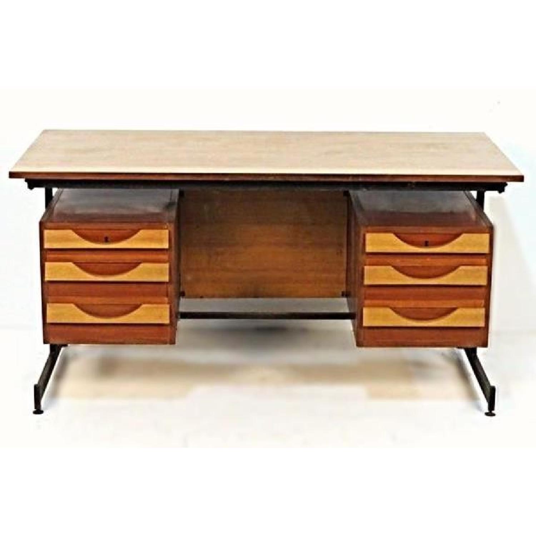 Teak Iron Mid Century Modern Desk Writing Table Aptdeco