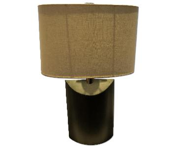 Bloomingdale's Dark Green Grey Wood Table Lamp