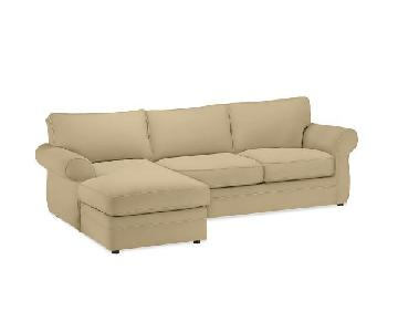 Pottery Barn Pearce Upholstered Ultrasuede Sectional Sofa
