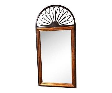Chapman Mid Century Spain Iron Wood Frame Wall Mirror