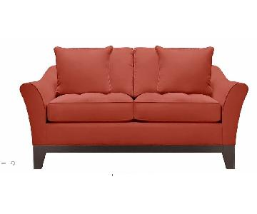 Raymour & Flanigan Rory Microfiber Loveseat in Red