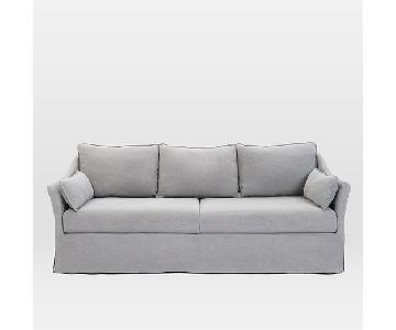 West Elm Antwerp Slipcover Sofa in Ice Yarn Dyed Linen Weave