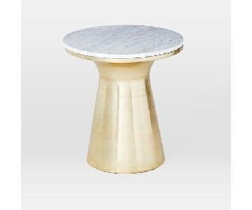 West Elm Grey Marble Topped Pedestal Side Table