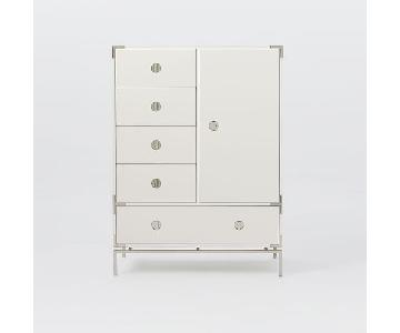 West Elm Malone Campaign Chifforobe in White