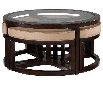 Raymour & Flanigan Juniper Glass Coffee Table w/ 4 Ottomans