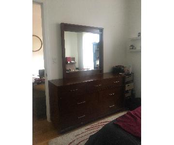 Raymour & Flanigan Cherry Bedroom Dresser w/ Mirror