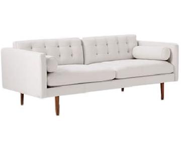 West Elm Monroe Mid Century Sofa in Chalk Leather