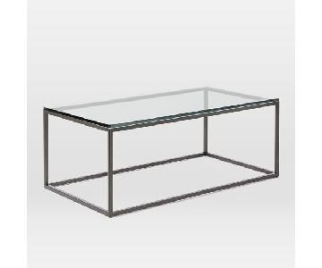 West Elm Box Frame Glass Coffee Table