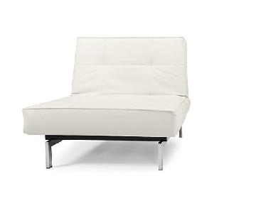 Innovation USA White Leather Textile Splitback Chair