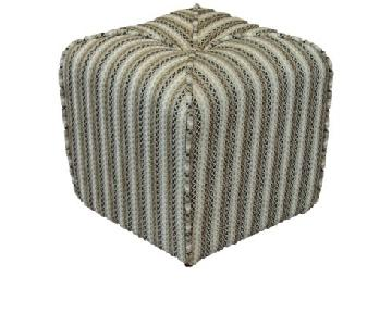 Linen Stripe Piped Ottoman