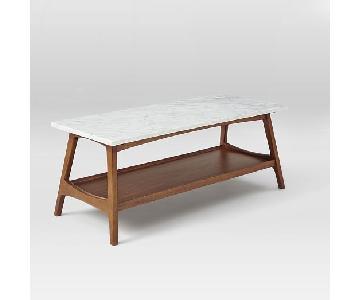 West Elm Reeve Mid-Century Marble Veneer Coffee Table