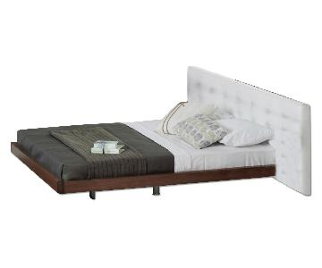 Lazzoni Platform Wood Bed w/ Leather Headboard