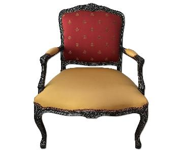 Custom Silk Upholstered Bergere Chair