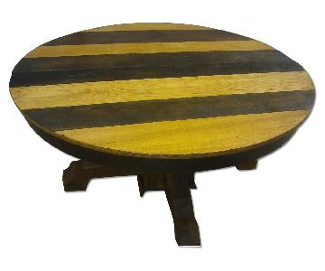 Antique Multi Stained Round Solid Wood Table
