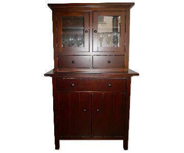 Crate & Barrel Mahogany Buffet w/ Hutch