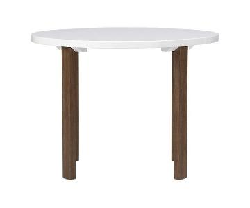 Crate & Barrel White Lacquer & Walnut Dining Table