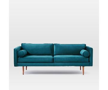 West Elm Monroe Mid-Century Sofa in Celestial Blue