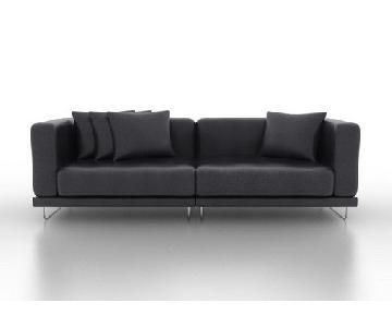 Ikea Tylosand Black Leather Sofa