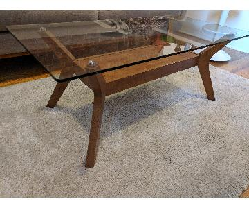 Simple Living Walnut Finished Coffee Table w/ Glass Top