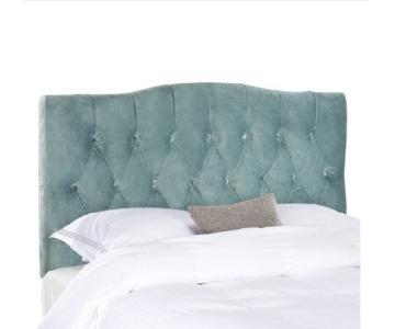 Safavieh Axel Wedgwood Blue Upholstered Tufted Headboard