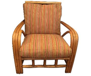 Mid Century Bamboo Armchair w/ Down Cushions