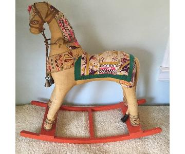 Antique Fabric Covered Rocking Horse