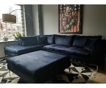 Anthropologie Edlyn Slub Velvet Sectional Sofa & Ottoman