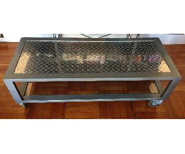 Industrial Metal & Glass Coffee Table