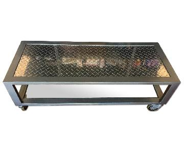 Industrial Metal & Glass Coffee Table