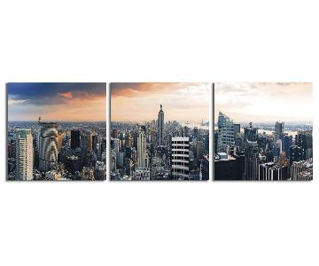 Empire State at Sunset Photography Triptych Print
