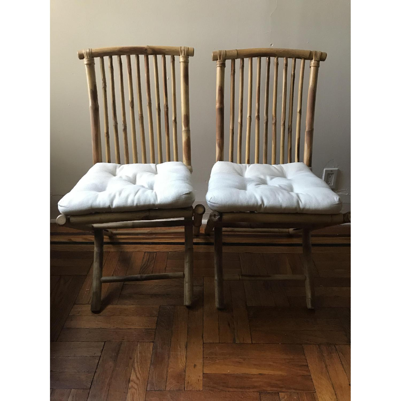 folding bamboo chair w cushion aptdeco
