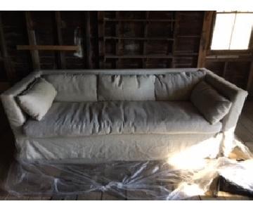Restoration Hardware Belgian Linen Slipcover Sleeper Sofa