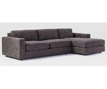West Elm Urban 2-Piece Sectional in Charcoal Heathered Tweed
