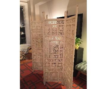 Vintage Hand-Carved Indian Style Screen